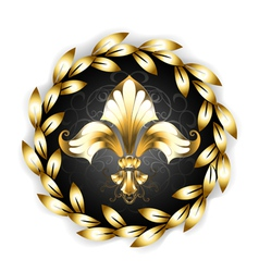 Gold fleur de lis with laurel wreath vector