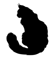 Furry cat silhouette vector