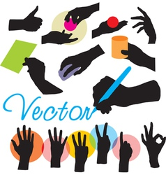 Set hands silhouettes vector