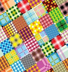 Textile patchwork square vector