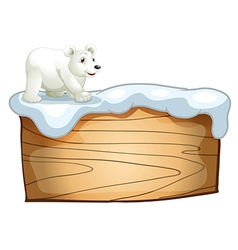 A polar bear above the empty wooden signboard vector