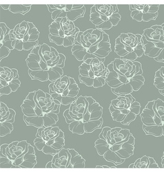 Seamless mint green retro floral pattern with rose vector