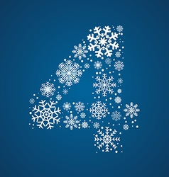 Number 4 font frosty snowflakes vector