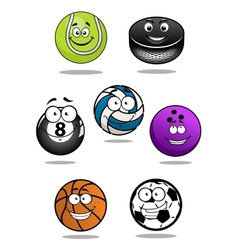 Smiling sport equipments cartoon characters vector