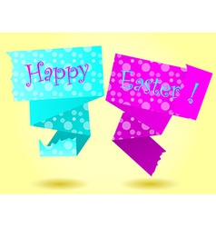 Origami happy easter card vector