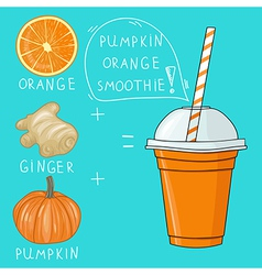 Glass with pumpkin orange smoothie natural bio vector