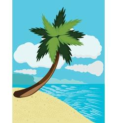 Cartoon beach with palm vector