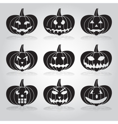 Halloween carved pumpkins set eps10 vector