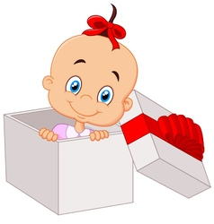 Little baby girl inside open gift box vector
