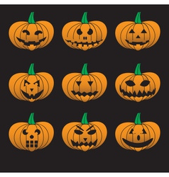 Orange halloween carved pumpkins set eps10 vector