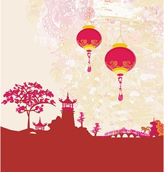Old paper with asian landscape and chinese vector
