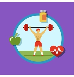 Fitness icons sports and exercise vector