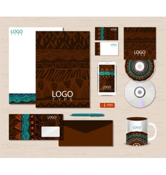 Corporate identity template with ethnic ornaments vector