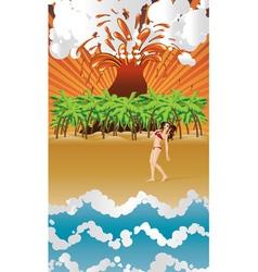 Cartoon volcano island and girl vector