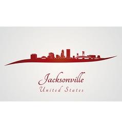 Jacksonville skyline in red vector