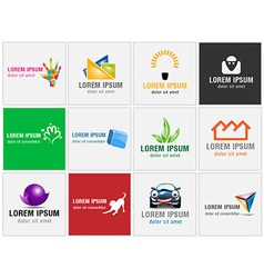 Set of twelve icons for business logos vector