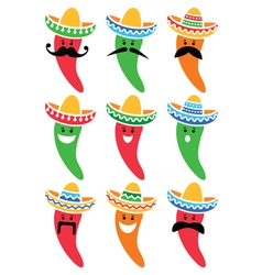 Chili pepper in mexican sombrero hat with mustache vector