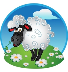 Sheep with blade of grass on color background vector