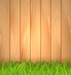 Freshness spring green grass and wooden wall - vector
