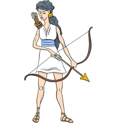 Greek goddess artemis cartoon vector