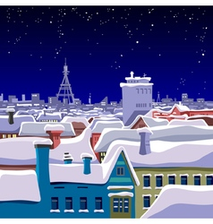 View of the roofs of the winter night city vector
