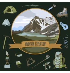 Set of mountaineering icons vector