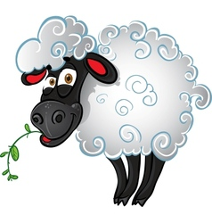 Sheep with blade of grass vector