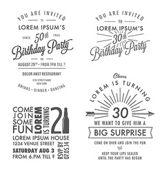 Adult birthday invitation vintage design elements vector