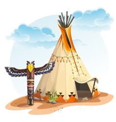 North american indian tipi home with totem vector