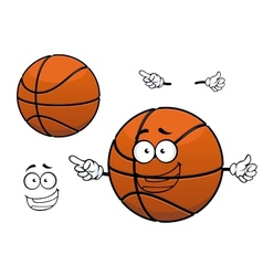 Cartoon happy basketball ball mascot character vector