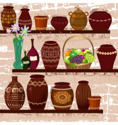 Shelves with ceramic pots vector