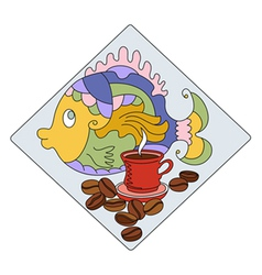 Fish koffe vector