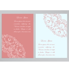 Pink and white flyers with ornate pattern vector