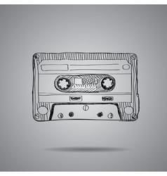 Hand-drawn cassette tape vector