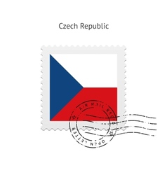 Czech republic flag postage stamp vector