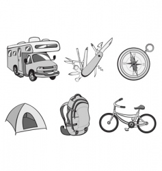 Outdoor and camping icons vector
