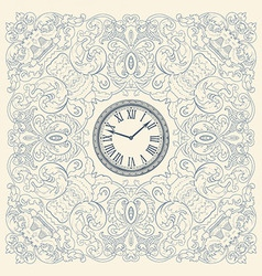 Retro card floral elements and watch vector