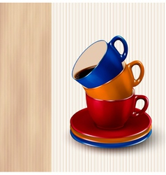 Background with colorful cups of coffee coffee vector