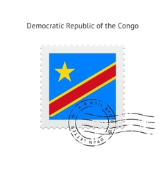Democratic republic of the congo flag postage vector