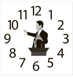 Speaker on the background of dial hours vector