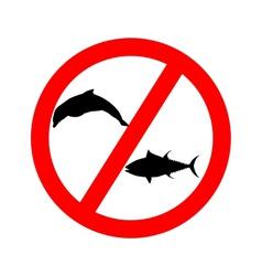 Prohibition sign tuna dolphin fishing vector