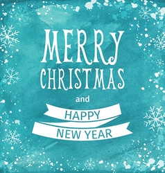 Greeting watercolor card merry christmas lettering vector