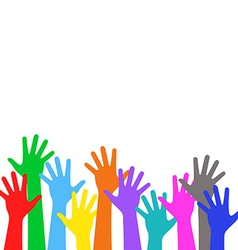 Colorful children is hands lifted upwards vector