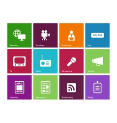 Media icons on color background vector