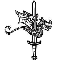 Dragon sword up vector