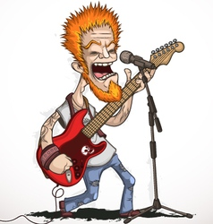 Singing rock guitarist vector