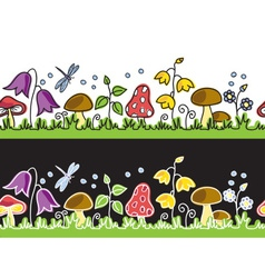 Summer flowers and mushrooms on meadow vector