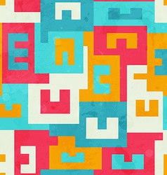 Funky bright maze seamless pattern vector
