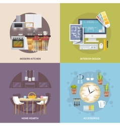 Kitchen furniture set vector
