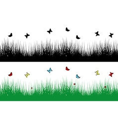 Spring borders with grass and butterflies vector